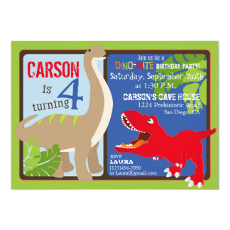 Dinosaur Fourth Birthday Invitation Card