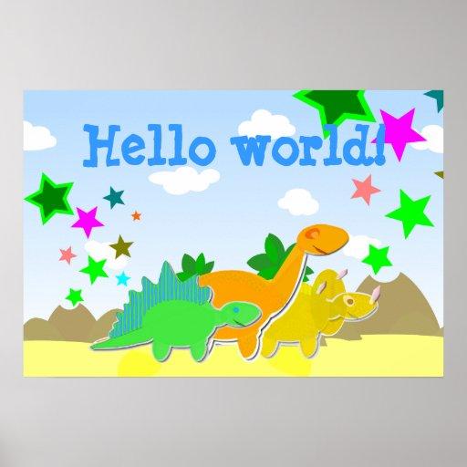 Dinosaur Friends Hello World Poster