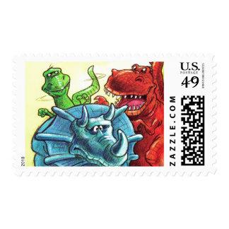 Dinosaur Friends Postage Stamp