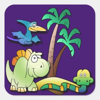Dinosaur Friends Square Sticker