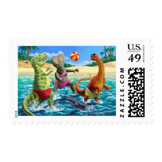 dinosaur fun playing Volleyball on a beach vacatio Postage Stamps