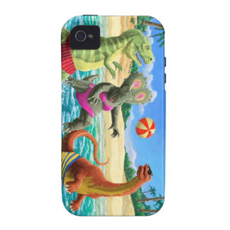 dinosaur fun playing volleyball on beach vibe iPhone 4 covers