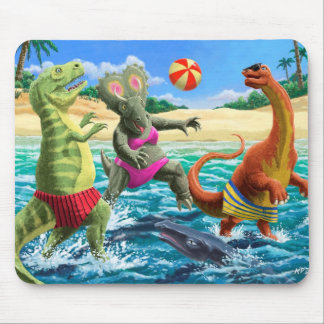 dinosaur fun playing volleyball on beach mouse pad