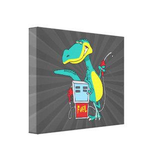 dinosaur gas pump fossil fuel cartoon gallery wrap canvas