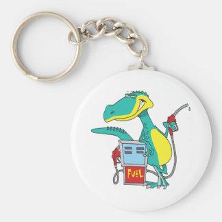 dinosaur gas pump fossil fuel cartoon keychain