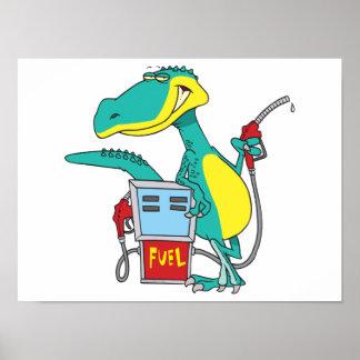 dinosaur gas pump fossil fuel cartoon posters