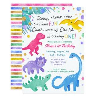 Dinosaur Girl 1st Birthday Invitation Colorful