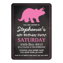 Dinosaur Girls Pink Chalkboard Birthday Party Card