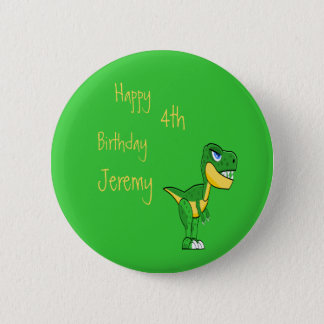 Dinosaur Green Cute Boys Age Birthday Pinback Button
