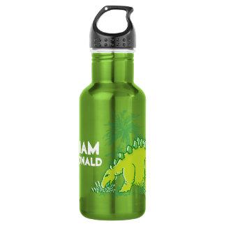 Dinosaur green Stegosaurus boys name drinks bottle 18oz Water Bottle