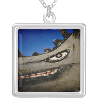 dinosaur grin square pendant necklace