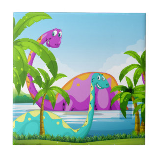 Dinosaur having fun in the lake tile
