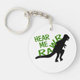Dinosaur Hear Me Rawr Double-Sided Round Acrylic Keychain