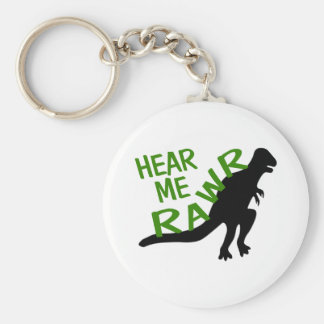 Dinosaur Hear Me Rawr Basic Round Button Keychain