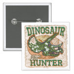 Dinosaur Hunter Triceratops 2 Inch Square Button