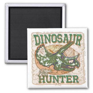 Dinosaur Hunter Triceratops 2 Inch Square Magnet