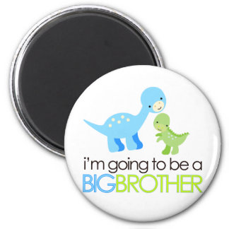 Dinosaur I'm Going to Be A Big Brother 2 Inch Round Magnet