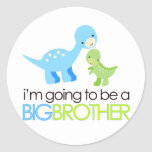 Dinosaur I'm Going to Be A Big Brother Classic Round Sticker