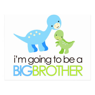 Dinosaur I'm Going to Be A Big Brother Postcard