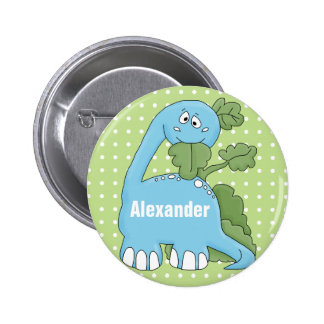 Dinosaur In Blue Happy Birthday To You Name Button