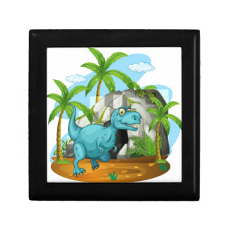 Dinosaur in front of the cave keepsake box