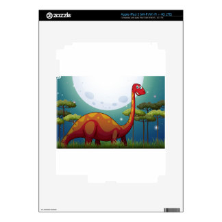 Dinosaur in the field at night skins for iPad 3