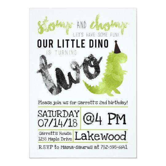 Dinosaur Invitation Stomp And Chomp 2nd Birthday