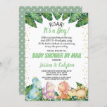 Dinosaur It's a Boy Baby Shower By Mail Invitation