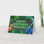 "Dinosaur Kids Dino Jurassic Trex Boy Birthday Card<br><div class=""desc"">This dinosaur design is great for the birthday boy in your life. Give them a dino-mite bday with this dino themed design featuring a trex,  triceratops,  brontosaurus,  and raptor.</div>"