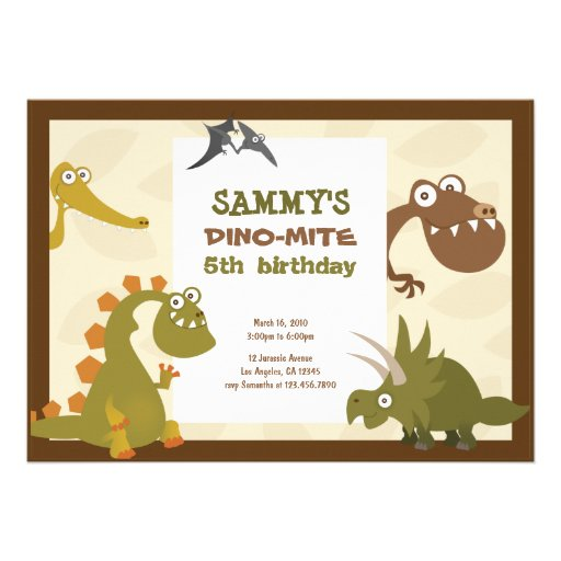 Dinosaur Land Birthday Invitation (front side)