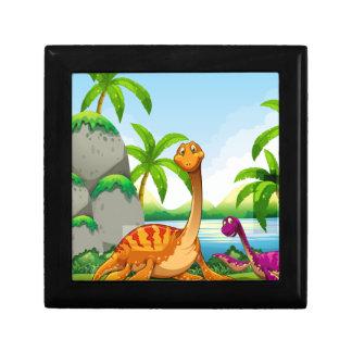 Dinosaur living in the jungle gift box