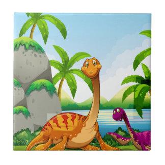 Dinosaur living in the jungle tile