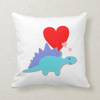 Dinosaur Love Heart Stegosaurus Throw Pillows