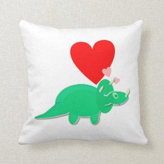 Dinosaur Love Heart Triceratops Throw Pillow