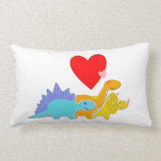 Dinosaur Love Hearts Lumbar Pillow