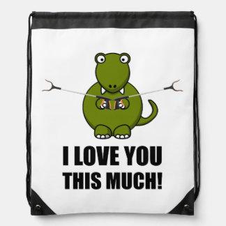 Dinosaur Love You This Much Drawstring Bag