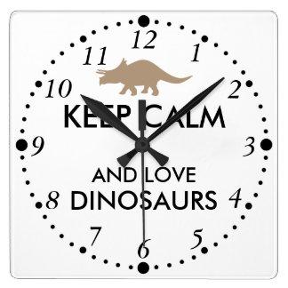 Dinosaur Lover Gift Keep Calm Triceratops Custom Square Wall Clock