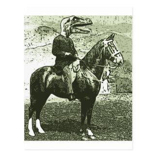 dinosaur man rides postcard