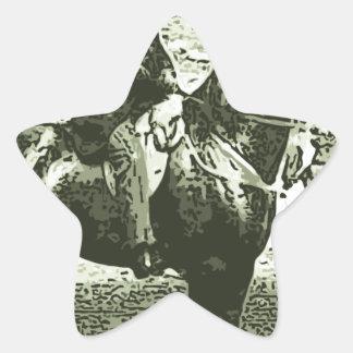 dinosaur man rides star sticker