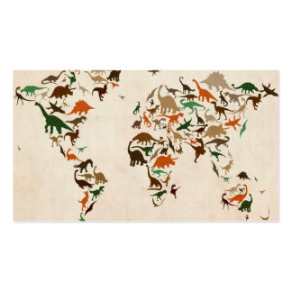 Dinosaur Map of the World Map Pack Of Standard Business Cards