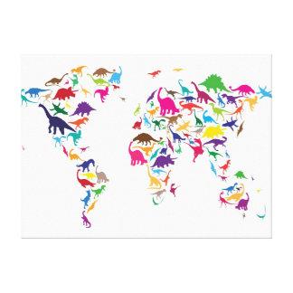 Dinosaur Map of the World Map Canvas Print