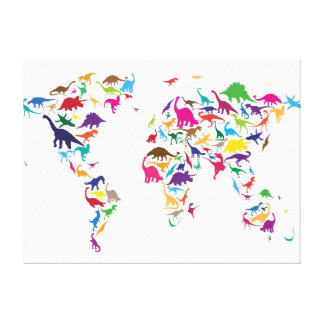 Dinosaur Map of the World Map Gallery Wrap Canvas