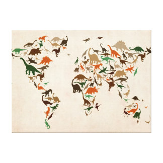 Dinosaur Map of the World Map Gallery Wrapped Canvas