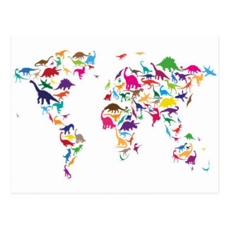 Dinosaur Map of the World Map Post Cards