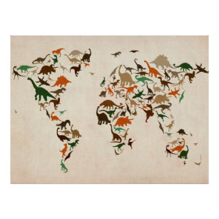 Tyrannosaurus rex posters zazzle dinosaur map of the world map poster gumiabroncs Images