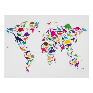 Dinosaur Map of the World Map Posters