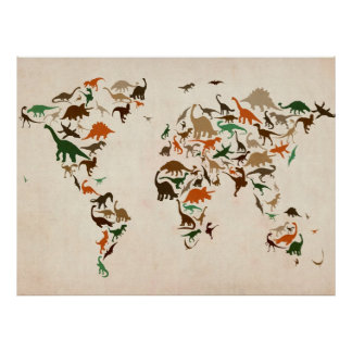 Dinosaur Map of the World Map Print
