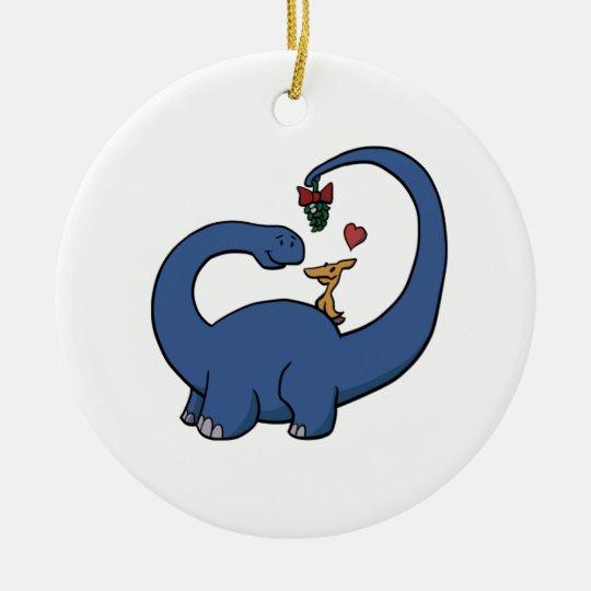 Dinosaur Mistletoe Ceramic Ornament