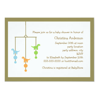 Dinosaur Mobile Baby Shower Invitation