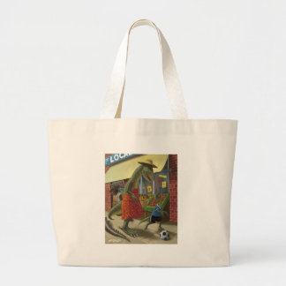 dinosaur mother out shopping with child kicking fo tote bags